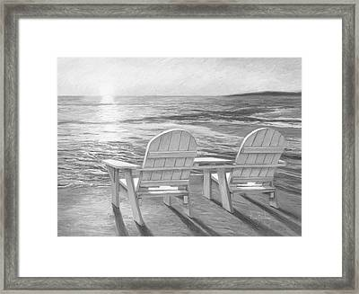 Relaxing Sunset - Black And White Framed Print by Lucie Bilodeau