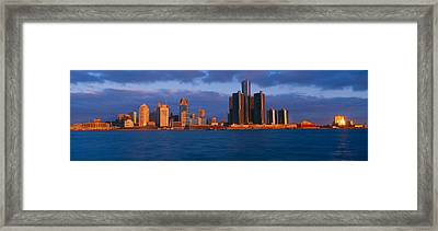 Renaissance Center, Detroit, Sunrise Framed Print