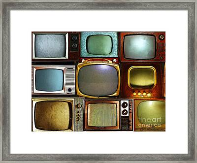 Retro Television Marathon 20150928 V2 Framed Print by Wingsdomain Art and Photography