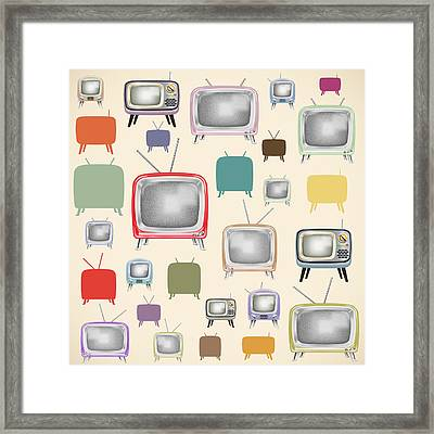 retro TV pattern  Framed Print by Setsiri Silapasuwanchai