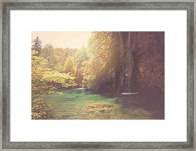 Retro Waterfall With Sunlight With Vintage Film Style Framed Print