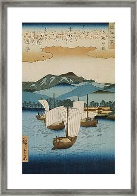 Returning Sails At Yabase Framed Print by Hiroshige