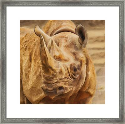 Rhino Framed Print by Jack Zulli
