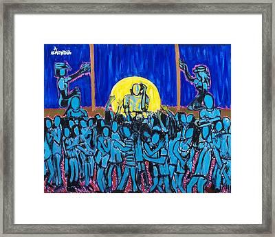 Rhythm Blue Framed Print by Albert Almondia