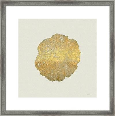 Rings Of A Tree Trunk Cross-section In Gold On Linen  Framed Print by Serge Averbukh