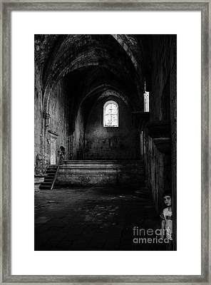 Framed Print featuring the photograph Rioseco Abandoned Abbey Nave Bw by RicardMN Photography