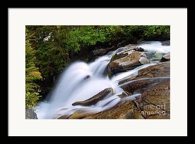 Mt Rainier Stream Framed Prints