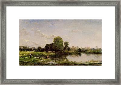Riverbank With Fowl Framed Print by Charles-Francois Daubigny