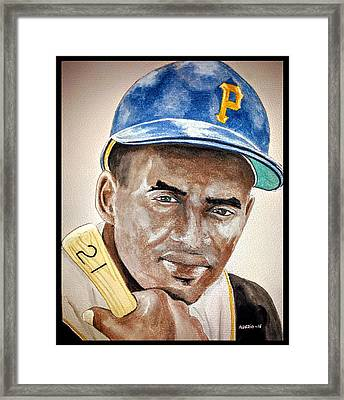 Roberto Clemente - Watercolor Painting Framed Print by Edwin Alverio