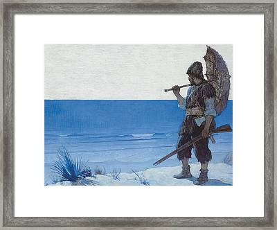 Robinson Crusoe Framed Print by Newell Convers Wyeth