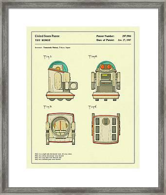 Robot Patent-1987 Framed Print by Jazzberry Blue