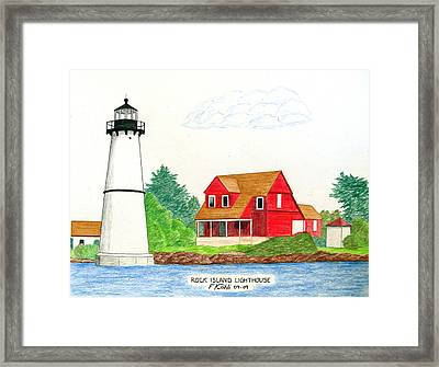 Rock Island Lighthouse Framed Print by Frederic Kohli
