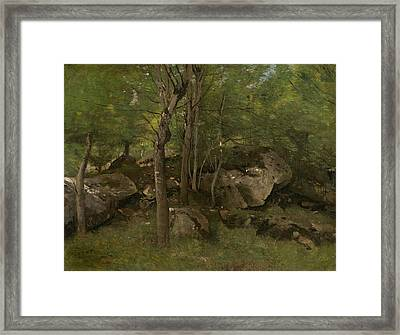 Rocks In The Forest Of Fontainebleau  Framed Print by Jean-Baptiste-Camille Corot