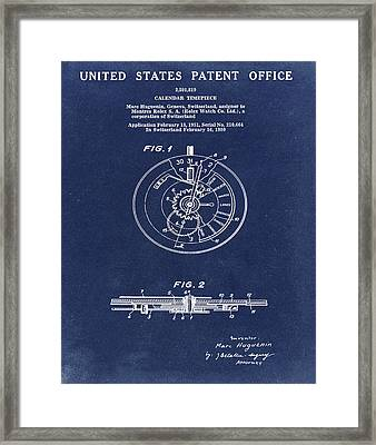 Rolex Watch Patent 1999 In Blue Framed Print