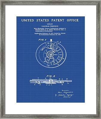 Rolex Watch Patent 1999 In Blueprint Framed Print