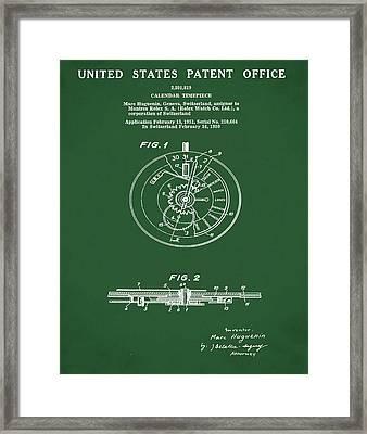 Rolex Watch Patent 1999 In Green Framed Print