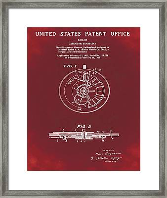 Rolex Watch Patent 1999 In Red Framed Print