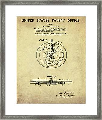 Rolex Watch Patent 1999 In Sepia Framed Print
