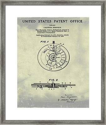 Rolex Watch Patent 1999 In Weathered Framed Print