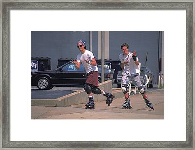 Roller Bladers In Miami Beach Framed Print by Carl Purcell