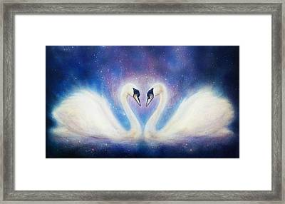 Romantic Two Swans On Cosmic Space, And Stars. Framed Print by Jozef Klopacka
