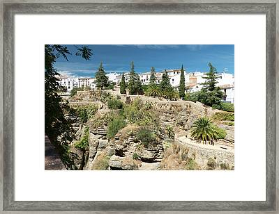Ronda And The El Tajo Gorge Framed Print by Rod Jones