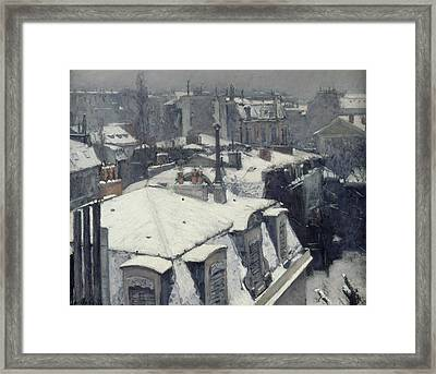 Rooftops In The Snow  Framed Print by Gustave Caillebotte