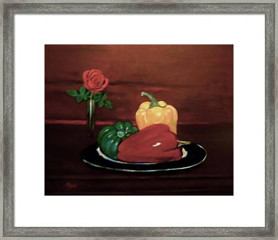 Rose And Peppers Framed Print