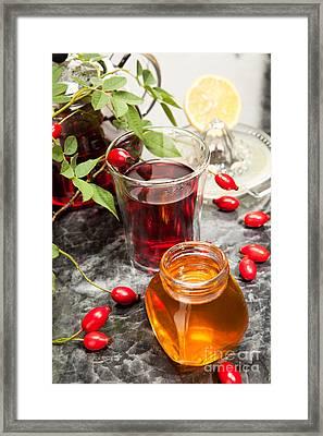 Rosehip Tea With Honey And Lemon In Glass Framed Print
