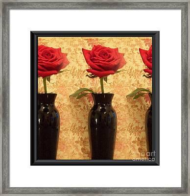 Roses In A Row Framed Print by Marsha Heiken