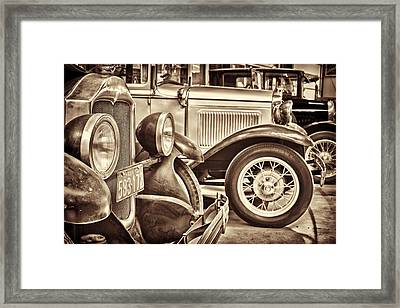 Row Of Ancient Oldtimers In Sepia Framed Print by Martin Bergsma