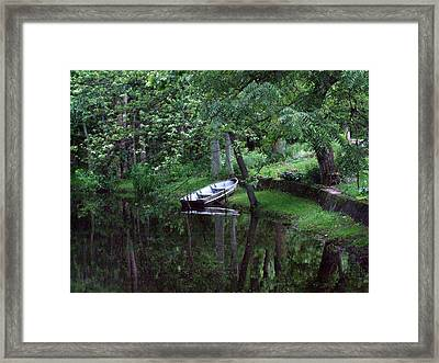 Rowboat In Woods Framed Print by Michael L Kimble