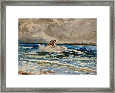 Rowing At Prouts Neck Framed Print by Winslow Homer