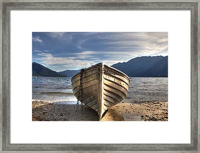 Rowing Boat On Lake Maggiore Framed Print