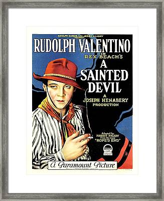 Rudolph Valentino In A Sainted Devil 1923 Framed Print by Mountain Dreams