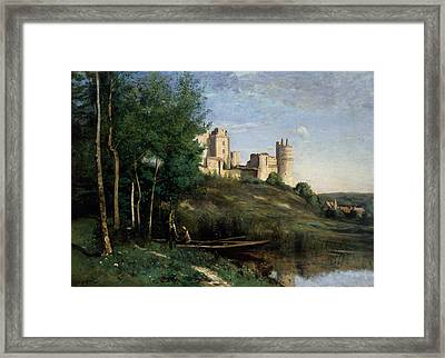 Ruins Of The Chateau De Pierrefonds Framed Print by Jean-Baptiste-Camille Corot