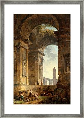 Ruins With An Obelisk In The Distance Framed Print