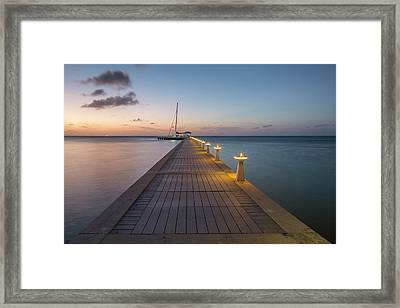 Framed Print featuring the photograph Rum Point Pier At Sunset by Adam Romanowicz