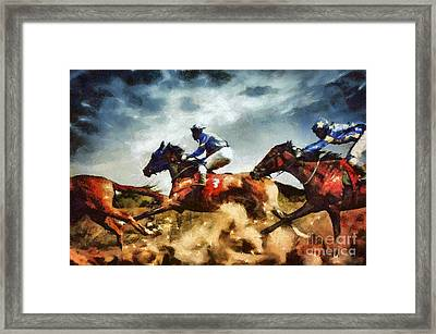 Framed Print featuring the painting Running Horses Competition Jockeys In Horse Race by Dimitar Hristov