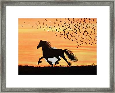 Framed Print featuring the painting Running In The Wind by Connie Valasco