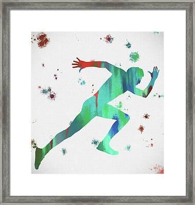 Running Man Paint Splatter Framed Print by Dan Sproul