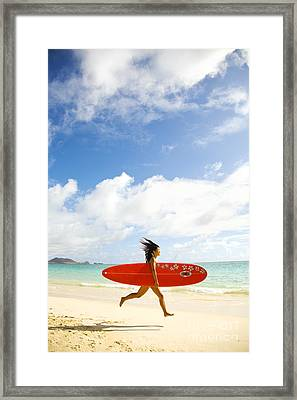 Running With Surfboard Framed Print by Dana Edmunds - Printscapes