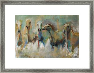 Running With The Palominos Framed Print