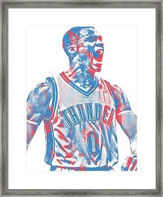 Russell Westbrook Oklahoma City Thunder Pixel Art 31 Framed Print