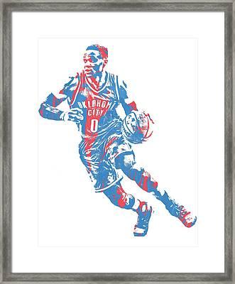 Russell Westbrook Oklahoma City Thunder Pixel Art 32 Framed Print