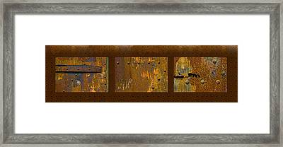 Rust Triptych Framed Print by Gary LaComa