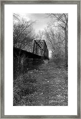 Rusty Railroad Trestle Bridge - Bw Framed Print by Scott D Van Osdol