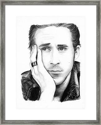 Ryan Gosling Framed Print by Rosalinda Markle
