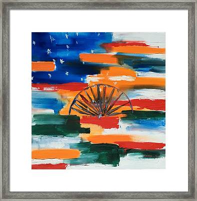 Saffron And Stripes Framed Print by Sandya Shetty