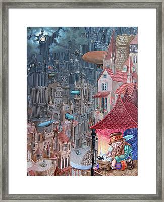 Saga Of The City Of Zeppelins Framed Print